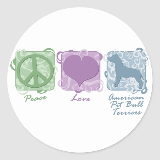 Pastel Peace, Love, and American Pit Bull Terriers Classic Round Sticker