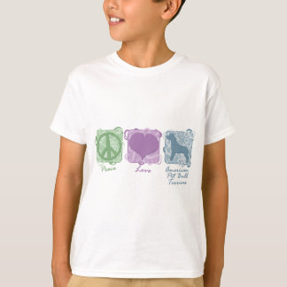 Pastel Peace, Love, and American Pit Bull Terriers T-Shirt
