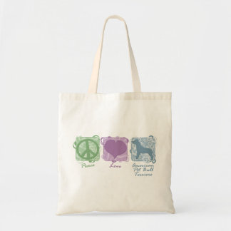Pastel Peace, Love, and American Pit Bull Terriers Tote Bag