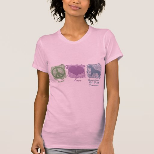 Pastel Peace, Love, and American Pit Bull Terriers T Shirts