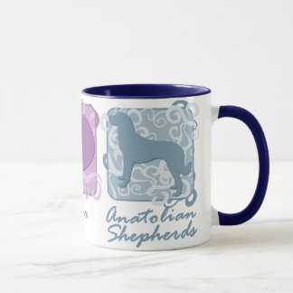 Pastel Peace, Love, and Anatolian Shepherds Mug