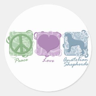 Pastel Peace, Love, and Anatolian Shepherds Classic Round Sticker