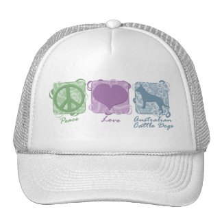Pastel Peace, Love, and Australian Cattle Dogs Mesh Hats