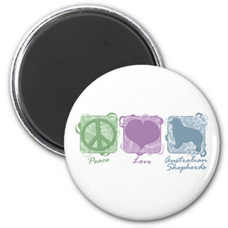 Pastel Peace, Love, and Australian Shepherds 2 Inch Round Magnet