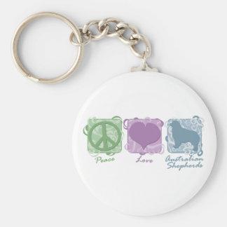 Pastel Peace, Love, and Australian Shepherds Key Chain