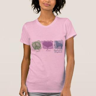Pastel Peace, Love, and Australian Shepherds T-Shirt