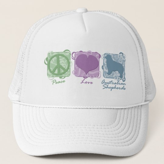 Pastel Peace, Love, and Australian Shepherds Trucker Hat