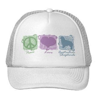 Pastel Peace, Love, and Australian Shepherds Trucker Hat