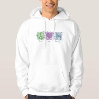 Pastel Peace, Love, and Basenjis Hooded Sweatshirt