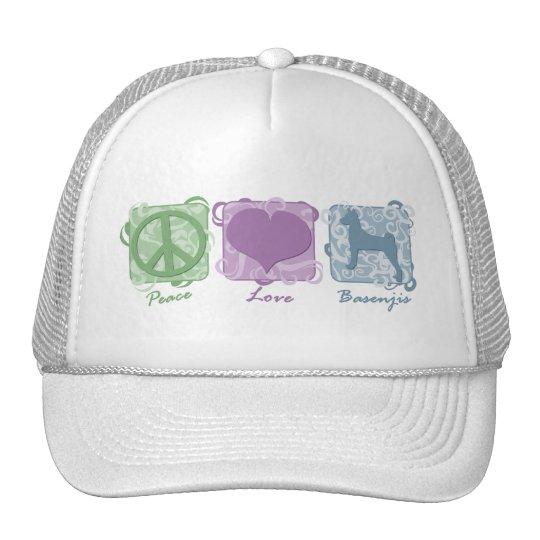 Pastel Peace, Love, and Basenjis Trucker Hat