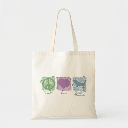Pastel Peace, Love, and Basset Hounds Canvas Bags