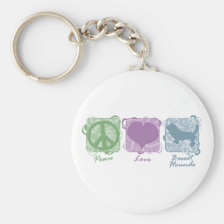 Pastel Peace, Love, and Basset Hounds Key Chain