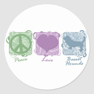 Pastel Peace, Love, and Basset Hounds Round Stickers