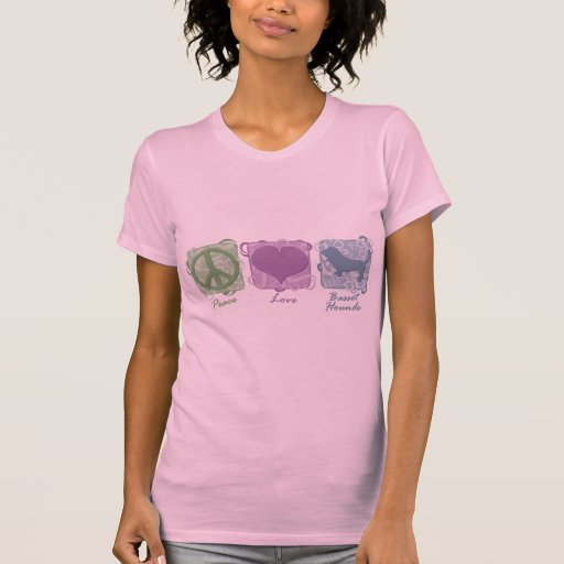 Pastel Peace, Love, and Basset Hounds Tshirt