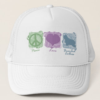 Pastel Peace, Love, and Bearded Collies Trucker Hat