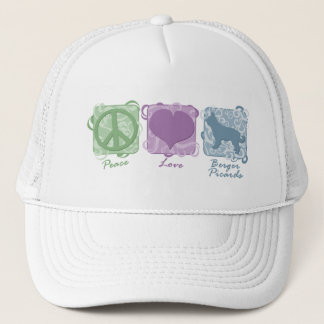 Pastel Peace, Love, and Berger Picards Trucker Hat