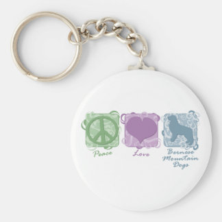 Pastel Peace, Love, and Bernese Mountain Dogs Keychain