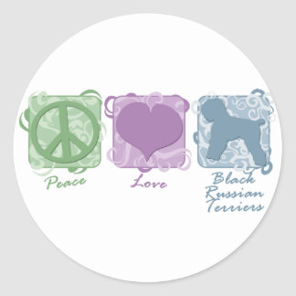 Pastel Peace, Love, and Black Russian Terriers Classic Round Sticker
