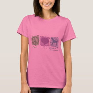 Pastel Peace, Love, and Black & Tan Coonhounds T-Shirt