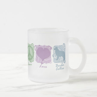 Pastel Peace, Love, and Border Collies Frosted Glass Coffee Mug