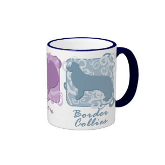 Pastel Peace, Love, and Border Collies Ringer Coffee Mug
