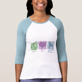 Pastel Peace, Love, and Boston Terriers T Shirt