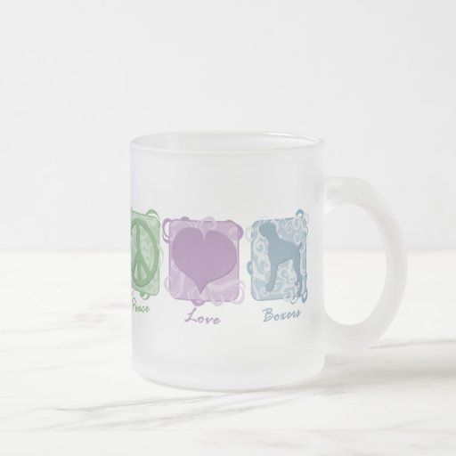 Pastel Peace, Love, and Boxers 10 Oz Frosted Glass Coffee Mug