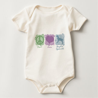Pastel Peace, Love, and Boykin Spaniels Baby Bodysuit