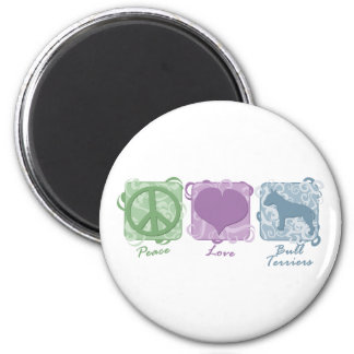 Pastel Peace, Love, and Bull Terriers 2 Inch Round Magnet