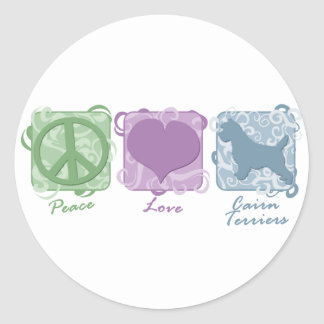 Pastel Peace, Love, and Cairn Terriers Classic Round Sticker