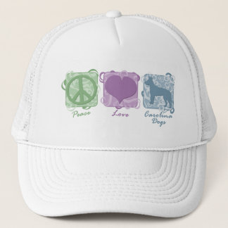 Pastel Peace, Love, and Carolina Dogs Trucker Hat