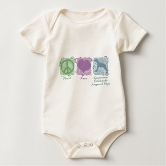 Pastel Peace, Love, and Catahoula Leopard Dogs Baby Bodysuit