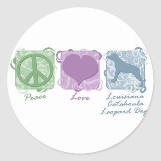 Pastel Peace, Love, and Catahoula Leopard Dogs Classic Round Sticker