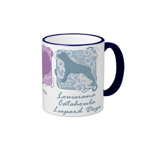 Pastel Peace, Love, and Catahoula Leopard Dogs Ringer Coffee Mug