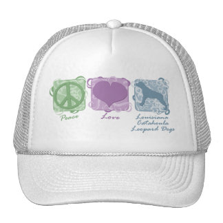 Pastel Peace, Love, and Catahoula Leopard Dogs Trucker Hat