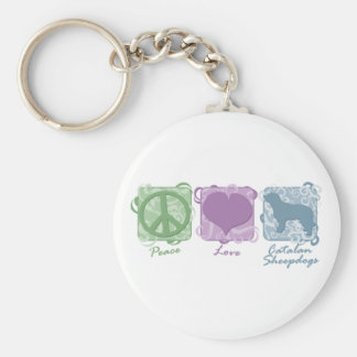 Pastel Peace, Love, and Catalan Sheepdogs Keychain
