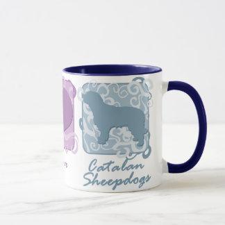 Pastel Peace, Love, and Catalan Sheepdogs Mug