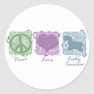 Pastel Peace, Love, and Cesky Terriers Classic Round Sticker