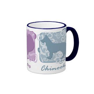 Pastel Peace, Love, and Chinooks Ringer Mug
