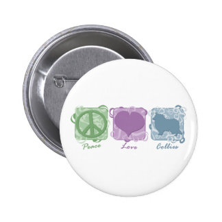 Pastel Peace, Love, and Collies 2 Inch Round Button
