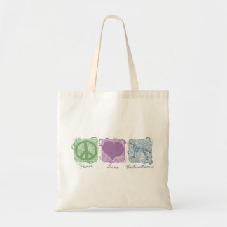 Pastel Peace, Love, and Dalmatians Canvas Bags