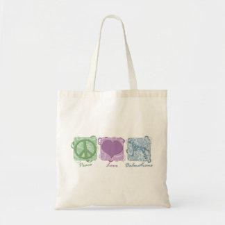 Pastel Peace, Love, and Dalmatians Tote Bag