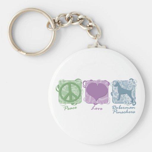 Pastel Peace, Love, and Doberman Pinschers Basic Round Button Keychain