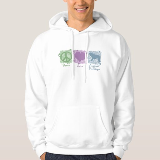 Pastel Peace, Love, and English Bulldogs Hoodie