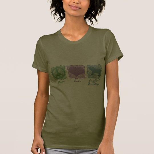 Pastel Peace, Love, and English Bulldogs T-Shirt