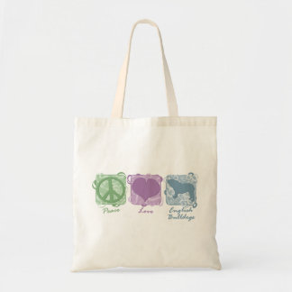 Pastel Peace, Love, and English Bulldogs Tote Bag