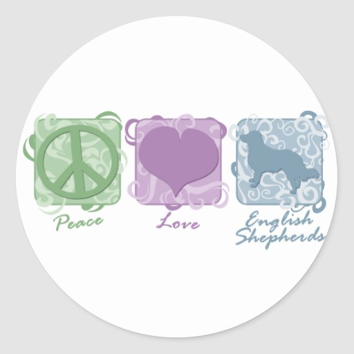 Pastel Peace, Love, and English Shepherds Round Stickers