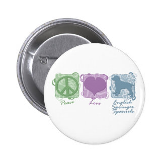 Pastel Peace, Love, and English Springer Spaniels Pinback Buttons