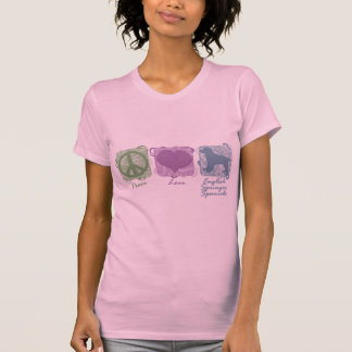 Pastel Peace, Love, and English Springer Spaniels Shirts