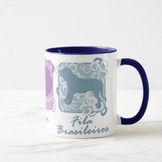 Pastel Peace, Love, and Fila Brasileiros Mug